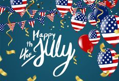 Fourth of July. 4th of July holiday banner. USA Independence Day. Banner for sale, discount, advertisement, Balloons Flag USA Royalty Free Stock Photos