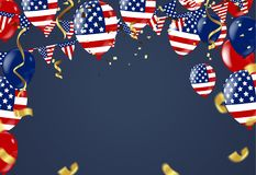 Fourth of July. 4th of July holiday banner. USA Independence Day. Banner for sale, discount, advertisement, Balloons Flag USA Stock Photos