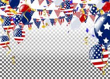 Fourth of July. 4th of July holiday banner. USA Independence Day. Banner for sale, discount, advertisement, Balloons Flag USA Royalty Free Stock Image