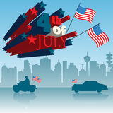 Fourth of July theme. Abstract colorful background with building silhouettes, american flags, car, motorcycle and the text fourth of July surrounded by red and royalty free illustration