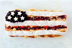 Fourth of July themed berry pastry on white marble Stock Photography