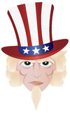 Fourth of July Uncle Sam Illustration. Uncle Sam in Fourth of July Hat on Independence Day Illustration Stock Images