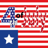 Fourth of July, United Stated independence day greeting. July 4th typographic design. Usable for greeting cards, banners, print. Stock Images