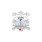 Fourth of July, United Stated independence day - Handmade template.  Stock Images