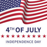 Fourth of July, United Stated independence day poster with the f. Lying flag of the USA. Usable for greeting cards, banners, print royalty free illustration