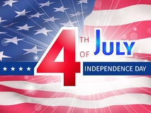 Fourth of July US Independence Day poster. Fourth of July US Independence Day - greeting with a glow over a part of the American flag close up Royalty Free Stock Photography