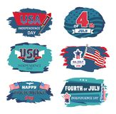 Fourth of July USA Happy Independence Day Posters. 4 th, vector illustration ribbons with text stars flags and bald eagle, celebration banners set collection vector illustration