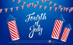 Fourth of July, USA Independence Day celebration. Banner with lettering, buntings and fireworks.  Royalty Free Illustration