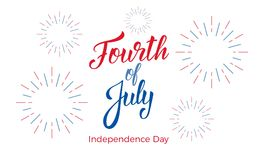 Fourth of July. USA Independence Day celebration. Banner with lettering and fireworks.  Royalty Free Illustration