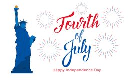 Fourth of July, USA Independence Day celebration. Banner with lettering, Statue of Liberty and fireworks.  Vector Illustration