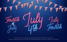 Fourth of July, USA Independence Day celebration. Banner with set of neon lettering design.  stock illustration