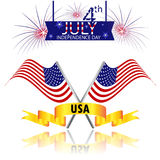 Fourth of July, USA Independence day with fireworks and flag vector design. Independence day of America with fireworks and flag vector design Stock Photography