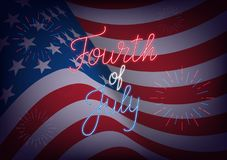 Fourth of July. USA Independence Day greeting banner. USA flag background with neon lettering and fireworks.  Royalty Free Stock Image
