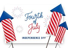 Fourth of July. USA Independence Day greeting banner. Modern layout with custom lettering and fireworks rockets.  Royalty Free Stock Photo