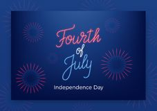 Fourth of July. USA Independence Day greeting banner. Modern layout with neon lettering and fireworks.  Stock Photo