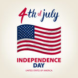 Fourth of July USA Independence Day greeting card. 4 th of July. United States of America celebration wallpaper. national holiday. US flag card design. art stock illustration