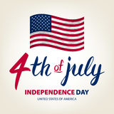 Fourth of July USA Independence Day greeting card. 4 th of July. United States of America celebration wallpaper. national holiday. US flag card design. art Stock Photos
