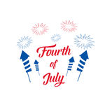 Fourth of July. USA Independence Day illustration with fireworks and typography. Fourth of July. USA Independence Day illustration with fireworks and typography Stock Image