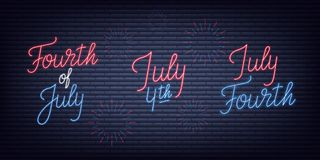 Fourth of July. USA Independence Day neon signs collection. July 4th holiday neon banners.  Royalty Free Stock Photo