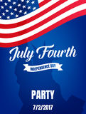 Fourth of July. USA Independence Day party poster. 4th of July holiday event banner.  Royalty Free Illustration