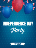 Fourth of July. USA Independence Day party poster. 4th of July holiday event banner.  Stock Illustration