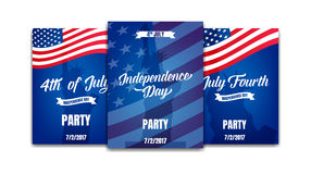 Fourth of July. USA Independence Day party posters. 4th of July holiday event banners Stock Image