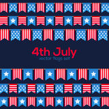 Fourth July USA Independence Day vector flags Stock Photo