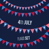 Fourth July USA Independence day vector triangular flags ropes set Stock Image