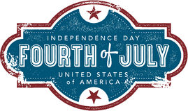 Fourth of July Vintage Sign Stock Photo
