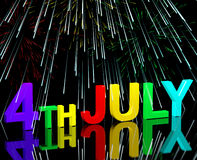 Fourth July Word And Fireworks As Symbol For America And Patriot Royalty Free Stock Photography