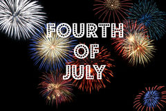 Fourth of July. The words Fourth of July over a background filled with fireworks stock images