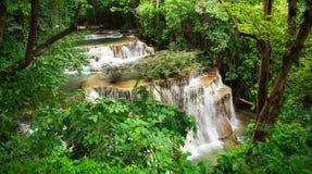 The fourth level of Huai Mae Kamin Waterfall Stock Image