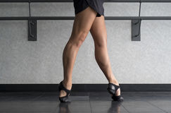 Fourth position at the barre in Jazz Class stock images