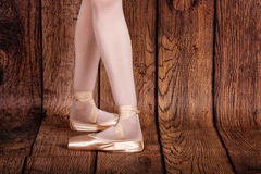 Fourth position in classical ballet. Ballet pas. Legs of balleri Stock Photo