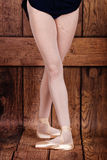 Fourth position in classical ballet. Ballet pas. Legs of balleri Royalty Free Stock Photos