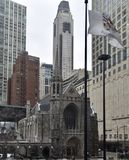 Fourth Presbyterian Church of Chicago. This is an early Spring picture of the iconic Fourth Presbyterian Church of Chicago on a snowy day in the Magnificent Mile Stock Photography
