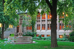 The Fourth Presbyterian Church courtyard and cloister in the Magnificent Mile neighborhood in Chicago. Chicago, Michigan Lake, Illinois, United States of America Royalty Free Stock Image