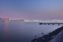 Fourth Qiantang River Bridge Fuxing Bridge Night Royalty Free Stock Photography