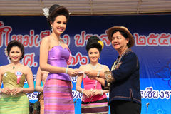 The Fourth Runner-Up for Miss Songkran 2014 Stock Photography