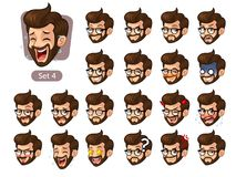 The fourth set of bearded hipster facial emotions with glasses Stock Photography