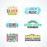 Fourth set of dj music equalizer logo vector Royalty Free Stock Images