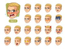 The fourth set of male facial emotions with blonde hair royalty free stock photo
