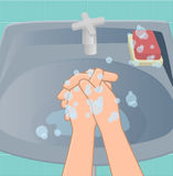 The fourth stage of washing hands. The fourth stage is washing hands with palms Rub between your fingers in a way to link both hands vector illustration
