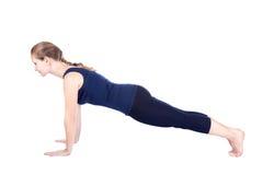 Fourth step of Yoga surya namaskar hastapadasana Royalty Free Stock Photos
