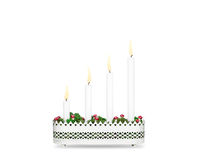 Fourth Sunday of Advent candlestick isolated on white background Royalty Free Stock Images