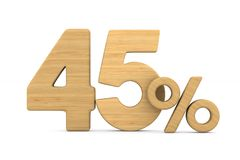 Fourty five percent on white background. Isolated 3D illustratio. N royalty free illustration