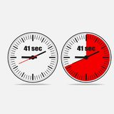 41 seconds clock on gray background. Fourty One Seconds Clock on gray background. Two options.41 seconds timer. Stopwatch icon. Clock icon. Vector illustration stock illustration