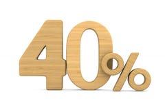 Fourty percent on white background. Isolated 3D illustration.  royalty free illustration