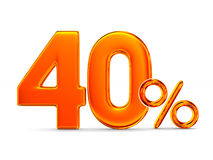 Fourty percent on white background. Isolated 3D illustration Stock Images