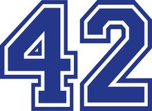 Fourty-two college number 42. Vector Stock Photos